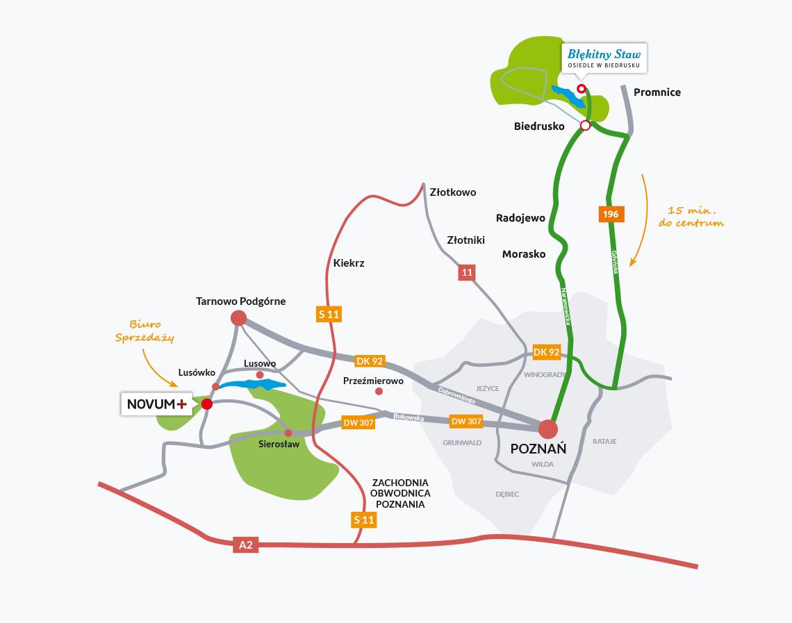 mapka dojazdu Osiedle Błękitny Staw w Biedrusku